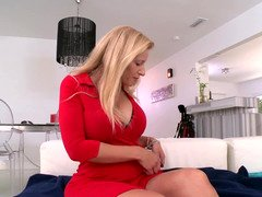 Wonderful forms of blonde MILF expects a young sizeable purple pole