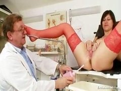 kinky gyno doctor fingers love hole of cute dark haired