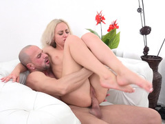 Petite Bambi Dee fucked in the ass and sucking him clean