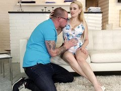 Blonde that has awesome tits is licked and her tits are groped