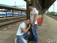 Train station is a fine place for a fine fellation
