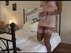 British bitch Keira gets fucked in leopardskin stockings