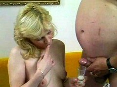 Blond bitch getting down and dirty with weighty mature guy