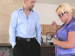Slut in leggings and a satin blouse takes a big cock