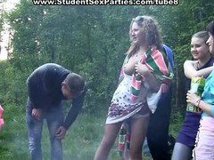 Squirt & group intercourse at outdoor group sex