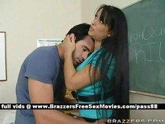 Breasty brunette teacher at school going through an earthquake