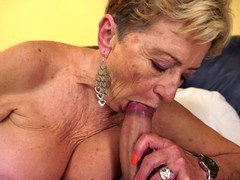 Nasty grown-up granny is getting penetrated on the sofa today