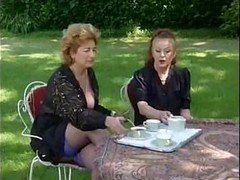A pair of Grannies Take Tea And furthermore Penis