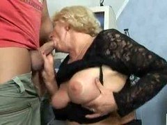 blond granny give blowjob and besides bang
