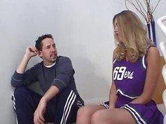Cheerleader Gets It On Stairs.