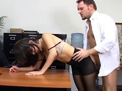 Breasty secretary in sheer pantyhose has office sex