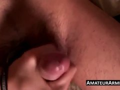 skinny asian dude wanks his rock hard fuck stick solo