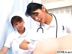 Japan nurses examine patents butthole while pumping penis