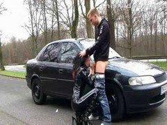 German Latex Whore (dirty talk outdoor sex)