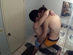 Brunette twinks backdoor sex with cumshot