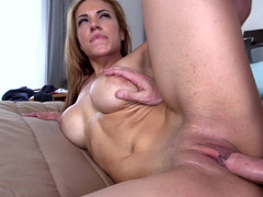 Brunette with large boobs is getting groped and penetrated too