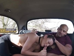 Taxi driving bitch gets pounded hard in her own cab