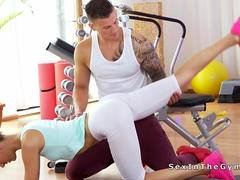 Underweight fitness brunette fucking in the gym