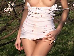 Russian babe stripping in nature