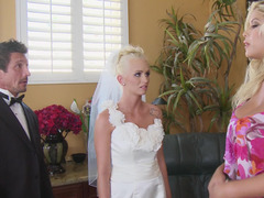 Young bride and the wedding planner enjoy big cock together