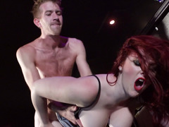 Amazing sex scene in the bar with bartender and impressive hottie