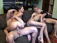 18 Videoz - Immaculate double date with swinger sex
