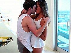 Sensually kissing preparing to bang