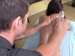 Petite Asian babe gets a sexy massage for her birthday