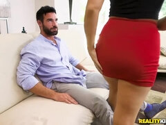 Surprised dude gets a sex visit from a busty blonde babe