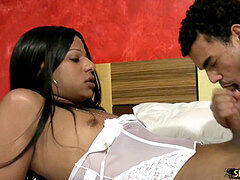 ebony transsexual girlfriend gets shecock bj'ed by her horny lover