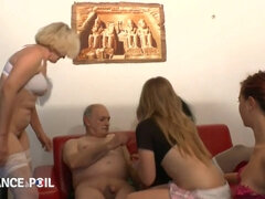 Arousing Old Grandpa Celebrates With Horny Sluts