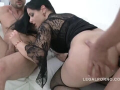 Big butt slut Alex Black DAP'ed & fucked by 3 guys for Legal Porn SZ895 - alex black