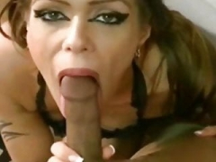 pantyhose oral sex babe gives head silky nylon cum cannon !