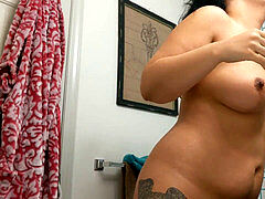 REAL Asian houseguest squirted washing her cootchie in the bathtub - epic spycam