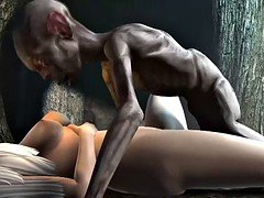 Gollum fucks blonde girl inside a cave