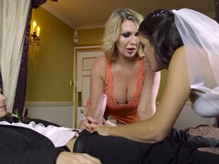 Virgin newlyweds get suck & fuck lessons from their wedding guest Leigh Darby