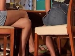 Russian femdom ignore slave under table
