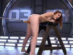Sizeable ass hottie fucked by machine
