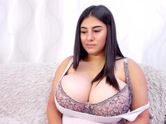 Romanian Brunette with monster boobs & fat ass on webcam solo