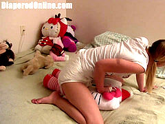 Pigtailed blonde nubile baby nymph nails Hello Kitty and plays with her wand