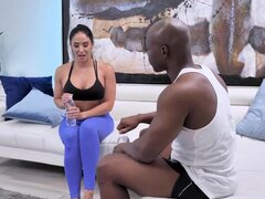 Cock-starved divorced MILF fucks her black trainer