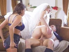 Gorgeous bridesmaid Anissa Kate gets invited to a threesome