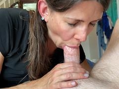 soccer mom for the greatest part gets caught sucking my knob by her mom right as i cum pov. video