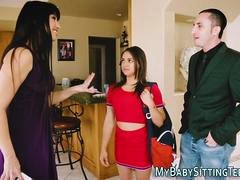 Babysitter fucked in a 3way so damn hard