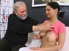 Diana's bf tricks her into blowing & fucking an old perv