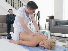 Short hair milf Ryan Keely fucking the masseur behing her husband's back
