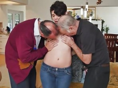 18-19 year old beauty trio with pervert oldguys