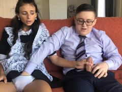 Schoolboy fucked young girl after school. Virgin first anal