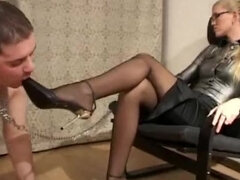 Leashed chubby shoes humiliated by domina