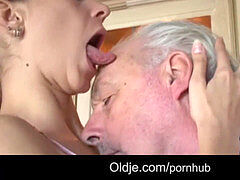 youthfull dark-haired slurps grandpa all over and fucks him